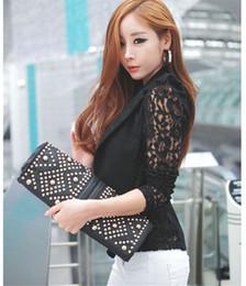Wholesale Women Stylish Blazers - Stylish 2016 Korean Slim fit Coat Office Outdoor clothes Women Sexy Long Sleeve Lace Crochet Small Blazer Jacket feminino