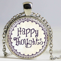Wholesale Happy Balls - HAPPY thoughts inspirational jewelry quotes words positive thinking art pendant with ball chain necklace