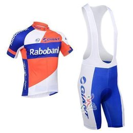 Wholesale 4xl Professional Team Cycling Clothing - 2015 Professional team rabobank bike bicycle wear men short sleeve cycling jersey shirts and cycling clothing bib
