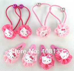 Wholesale Head Pc For Baby - 24 Packet 48 Pairs 96 Pcs High Quality Hello kitty hair clips for kids, baby head wear, cute hairpin,children Elastic Hair Bands