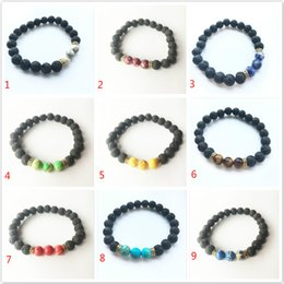 Wholesale Stone Craft Jewelry - Lava Rock Stone Beads Bracelet Charm Rock Natural Stone Turquoise Tiger Eye Beads Bracelet Fashion Jewelry Crafts Men Chakra Bracelet