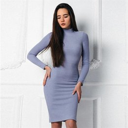 Wholesale fall turtleneck - Blue Knitted Vintage Dress 2017 Women fall Winter Sexy Slim Bodycon Vestidos Long Sleeve O-neck Turtleneck Fit Party Dresses
