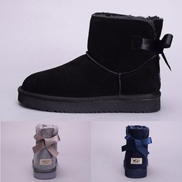 Wholesale Top Fur Boots For Woman - WGG Top Quality Women Australia Classic tall Boots lady girl boots Boot black chestnut ankle boots for women leather shoes Eur 36-41