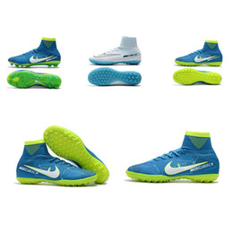 Wholesale Tf Soccer Shoes - Blue Green Original Soccer Cleats Mercurial Superfly V SX Neymar FG  TF CR7 Kids Indoor Soccer Shoes