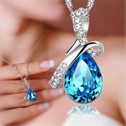 Wholesale Rhinestone Crystal Tear Drop Necklace - 925 sterling silver jewelry wholesale Korean angel tear drop-shaped pendant necklace Austrian crystal rhinestones silver valentine