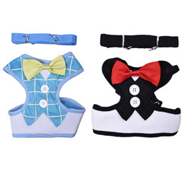 Wholesale Velvet Puppy - Dog Collar Harnesses Lead Leash Strap Belt For Pets Velvet Bowtie Gentleman Suit Boy Tuxedo Easy Walk Harness Vest for Puppy