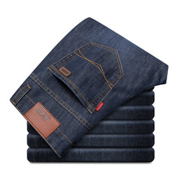 Wholesale Mens Casual Business Jeans - Wholesale-New 2016 Jean Mens Pants Men's Jeans Men trousers Mid Waist Straight Business Casual Style Famous Brand Ripped Jeans Straight