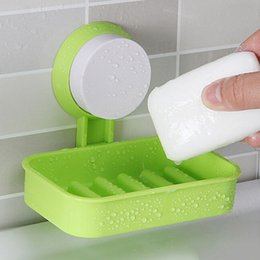 Wholesale Pink Storage Box Plastic - Strong Soap Dish Holder Suction Cup Wall Tray Holder Soap Storage Box For Bathroom Shower Tool Perfect Home Decoration