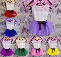 Wholesale Baby Girl Dress Pcs - 7 Color Girl Lace Stripe bowknot dress suits Summer Chiffon Lace cotton T-shirt + Short skirt 2 pcs suit baby clothes B001
