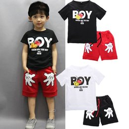 Wholesale Cute Baby Clothes For Boys - 2017 New Arrival Toddler Baby Boy Cartoon Clothes Sets Short Sleeve Shirt+ Cute Shorts Summer Children for boy suits