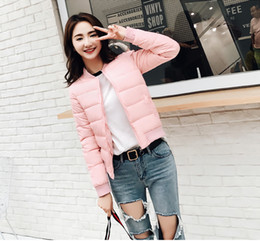 Wholesale Thin Cotton Spandex Shorts - Candy Colors Femmal Stand Collar Slim Short Women Ultra Light Down Jacket Casual Padded Coat Long Sleeve Outerwear