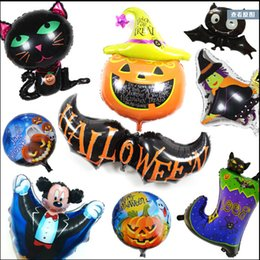 Wholesale pumpkin cats - New Arrival Halloween Balloons Helium pumpkin Balloons Cats Balloons Foil Balloons Cartoon Halloween Decoration Party Toys Festival Gift