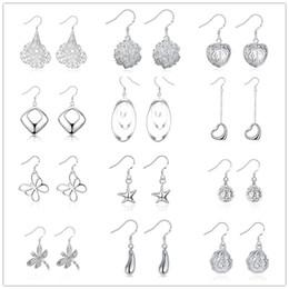 Wholesale Butterfly Flower Rose Heart - Mixed 12 Style 925 silver earrings With Multi Heart Butterfly Geometry Rose Flower Charm earrings jewelry allergy free Wholesale