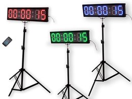 """Wholesale Race Timing Clock - EU 4"""" 6 digits RGB LED Race Timing Clock For Running Events Countdown up stopwatch IOS(IPhone) and Android are supported."""