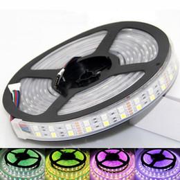 2019 luces de neón blancas rollo Doble hilera de 120 LEDs tira de LED 5050 SMD DC12V / 24V RGBW RGBWW Tira de LED flexible luz de tira 600led / 5M IP67 a prueba de agua