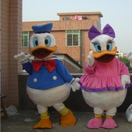 Wholesale Donald Duck Mascot Costumes - Donald Duck mascot costume photo real luxury Donald and Daisy Duck mascot mascot of adult clothing clothing Halloween party role play