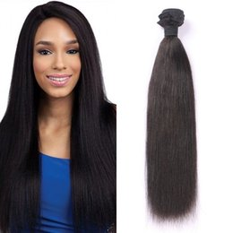 Wholesale straight light yaki weave - Light Yaki Straight Human Hair Weaves High Quality Brazilian Virgin Hair Bundle Natural Color Double Weft FDSHINE