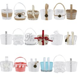 Wholesale Bamboo Flower Basket - Wholesale- Lovely Mini Wedding Candy Basket Candy Boxes Hanging Flower Basket Wedding Favor Pouch Bags Kids Birthday Candy Box Gifts Decor