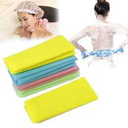 Wholesale Nylon Scrubs - Nylon 5pcs Japanese Exfoliating Beauty Skin Bath Shower Wash Cloth Towel Back Scrub Body Cleaning Washing Sponges & Scrubbers