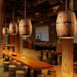 Wholesale Warehouse Restaurant - Retro loft wood cask pendant lamp restaurant warehouse dining room Wine cellar aisle corridor pub cafe chandelier barrel light
