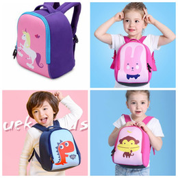 Wholesale Girls Diving Suits - Baby Girls Boys Unicorn rabbit Dinosaur Backpack for 3-6T kids Diving suit fabric big capacity cute backpack schoolbag KKA2882