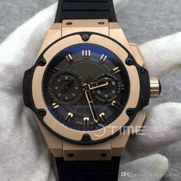 Wholesale Mens Watch Cases - Mens Top Big 48mm Black and Gold Case Limited Edition Best Edition On Black Rubber ETA 7750 Sport Mechanical Watches Valjoux Chrono watches