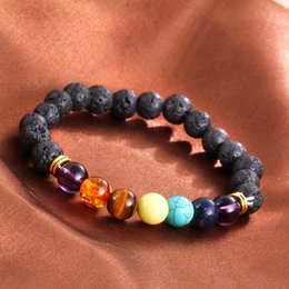 Wholesale Beads Ship Free - Hot selling Unisex chakra energy bracelets natural lava stone bracelets 8mm colorful beads bracelets free shipping