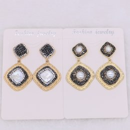 Wholesale Square Alphabet Beads - Fashion Golden color drop earrings square Charm dangle earrings with natural pearl&Cubic zircon stone beads Gems stone jewelry 1772
