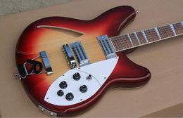 Wholesale Guitar Cherry Hollow - Custom RIC Fire Glo Dark Cherry Sunburst 360 6 Strings Semi Hollow Body Electric Guitar Triangle Mother Of Pearloid Fingerboard Inlay