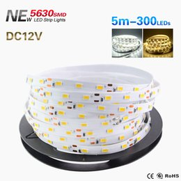 Wholesale high dc - High Power 12V Waterproof Or Non-Waterproof Super Bright 5m 300LEDS 5630 Smd Cool White   Warm White   Pure White Strip Light