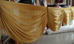 Wholesale Hot Events - 6 M long Gold ice silk curtain swags for wedding backdrops wedding party event decoration supplies
