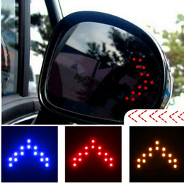 Wholesale Mirror Right - 2pcs Car Arrow Panel 14 SMD LED Auto Side Mirror Rear View Indicator Turn Signal Light Lamp 12V LED Light LED Trailer Lights