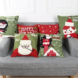 Wholesale Patchwork Cushion Covers - 2016 Christmas New Year Pattern Pure Cotton Cushion Covers Fashion Throw Pillow Covers Home textile Decor Pillows Gift Pillows More Designs