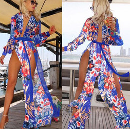 Wholesale Wrap Dress Long Sleeve L - MAYFULL NEW FASHION Womens Beach Pool Party Wear Wrap Split Long Maxi Dress Kimono Chiffon Dress Lady casual evening party dress brand