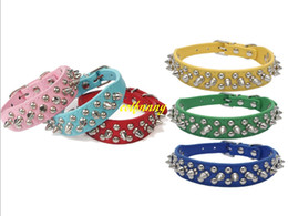 Wholesale Leather Spiked Puppy Collars - 100pcs lot Fast shipping Adjustable Leather Rivet Spiked Studded Pet Puppy Dog Collar Neck Strap 9 colors