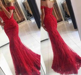 Wholesale Evening Short Dresses Crystals - 2017 New Red Lace Mermaid Prom Dresses veatidos off Shoulder Beaded Appliques Tulle Floor Length Long Evening Gowns