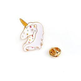 Wholesale Unicorn Brooch - Wholesale- Cartoon Cute Rainbow Spot Unicorn Brooches Enamel Pin Collar Jeans Hat Bags jewelry