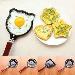 Wholesale Mini Fry Pan Lid - Wholesale-Creative Cartoon Animals Mini Non-Stick Breakfast Omelette Pan Pancake Egg Fryer Skillet Fry Frying Pan Molds (no lids) Cookware