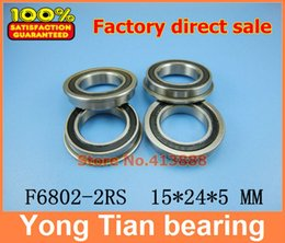 Wholesale Thin Wall Ball Bearings - Wholesale- (1pcs) flange bearing Thin wall deep groove ball bearings F6802-2RS 15*24*26*5*1.1 mm
