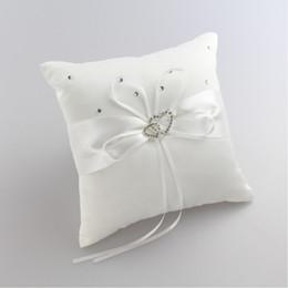 1515cm Fashion White Satin Bridal Wedding Ceremony Ring Bearer Pillow Cushion Crystal Double Heart