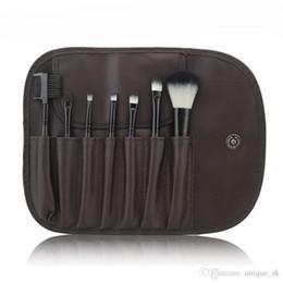Изготовление шерстяных мешков онлайн-Мини портативный макияж кисти набор инструментов макияж туалетных Kit шерсть Марка макияж кисти набор 7 шт. В комплекте с PU мешок