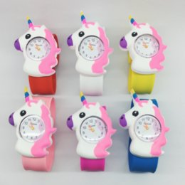 Wholesale Yellow Horns Wholesale - Unicorn Cartoon popular horns horse children patted ring watch 2017 exclusive creation tide brand children watches