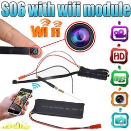 Wholesale Video Camera App - Wifi P2P HD 1080P Camera Hidden DVR Video Recorder Mini SPY DIY Module Camera Night Vision Nanny Cam APP Remote Wide Angle View S06