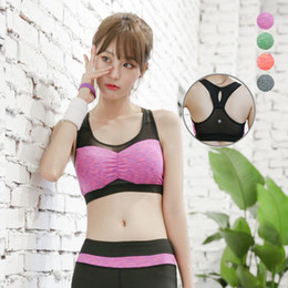 Wholesale Womens Yoga Tanks - Wholesale-Women patchwork mesh sexy yoga bra sport running crop top sleeveless shirt fitness hollow out tank tops womens gym clothing vest