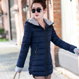Wholesale Korean Winter Coats For Women - Fashion Women Down Coats 2017 Ladies Long Winter Warm Coat For Women Clothing Light Hoodies Parka Plus Size Slim Solid Jacket Hooded Korean
