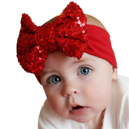 Wholesale modern hair accessories - Wholesale- Modern Elastic Children Baby Girl Headband Cute Sequins Bow Hair Accessories Birthday Party Family Photo Aug12