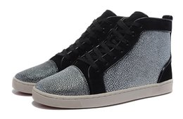 Wholesale False Bottom - Size 36-46 Men & Women Black Suede With False Rhinestone Luxury Brand High Top Red Bottom Casual Shoes,Unisex New Fashion Plus Size Sneakers