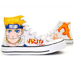 Wholesale Cute Casual Shoes For Women - High Top Lace-UpCartoon Naruto Sasuke Cosplay Canvas Shoes Hand Painted Flat Shoe Anime Cute Design Casual Shoes for Men Women