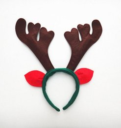 Wholesale santa reindeer antlers - Christmas Reindeer Headband Cosplay Decoration Ornaments Red Reindeer Antler Headband Santa Hat Head Accessory for Christmas Day