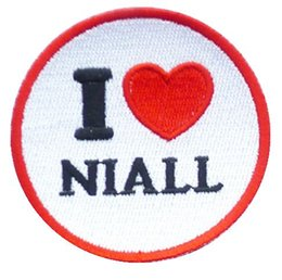 Wholesale I Love Liam - 1D HEART ONE DIRECTION I LOVE LIAM Music Band Iron On Sew On Patch Tshirt TRANSFER MOTIF APPLIQUE Rock Punk Badge Free shipping